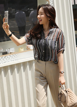 Pinstripe Sheer Short Sleeve Blouse, Styleonme